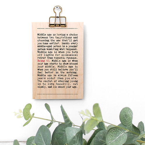 40th Birthday Wise Words Wooden Plaque with Hanger x 3