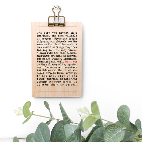 Marriage Quotes Wooden Sign with Hanger