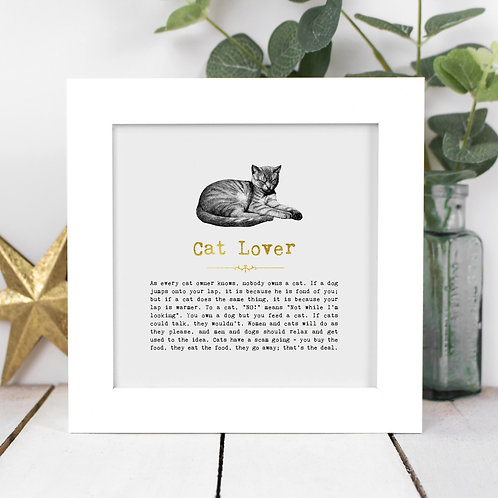 Cat Lover Personalised Framed Quotes Print