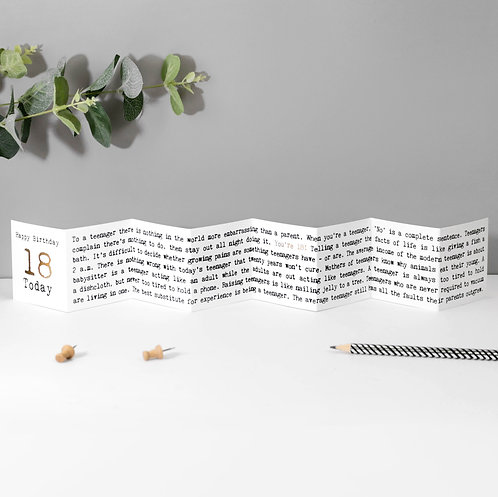18 Today! Fold-Out Mini Birthday Card with Foil x 6