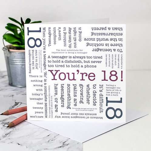 18th Birthday 'You're 18!' Quotes Card