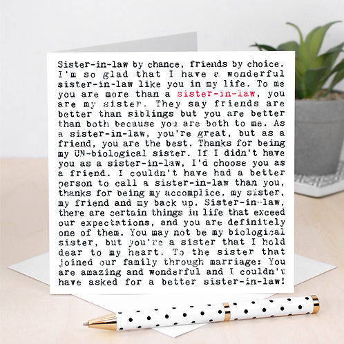 Sister in Law Wise Words Quotes Card x 6
