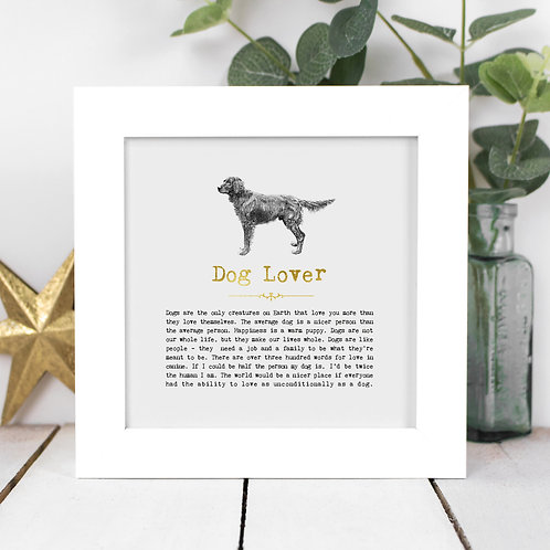 Dog Lover Personalised Framed Quotes Print