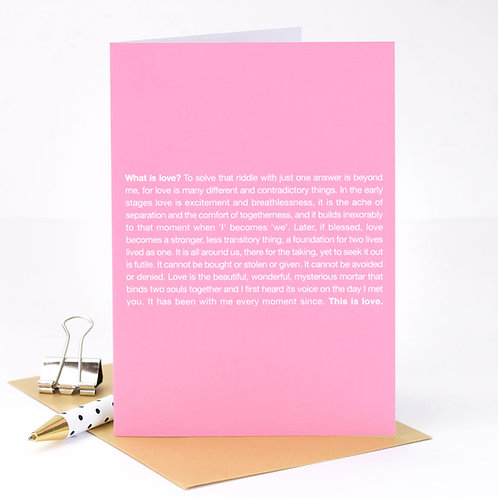What is Love? Blush Pink Anniversary Card x 6