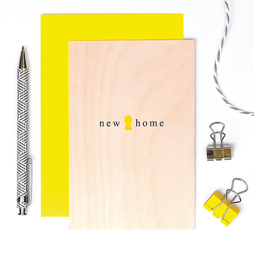 New Home Simply Stylish Wooden Card x 6