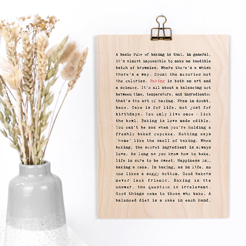 Baking Quotes Funny Wooden Sign with Hanger