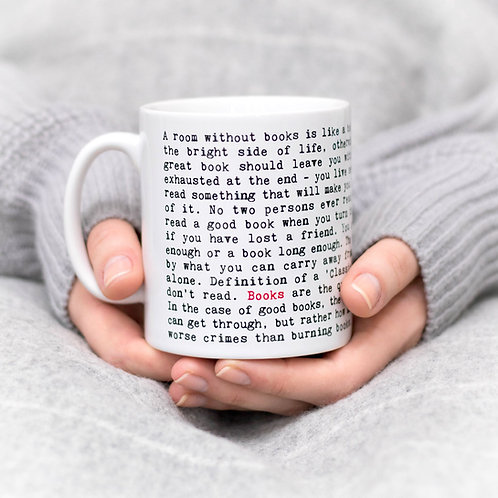 Bookworm Novelty Typewriter Quotes Mug