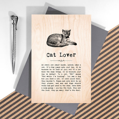 Cat Lover Personalised Wooden Keepsake Card