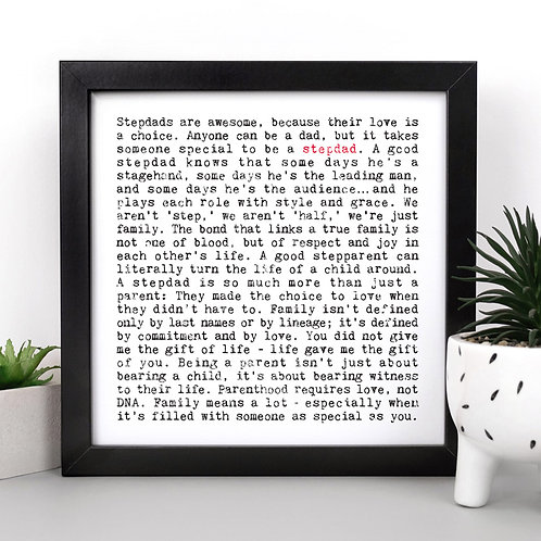 Stepdad Wise Words Quotes Print x 3