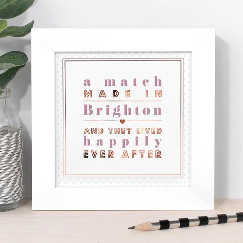 Match Made In... Personalised Dotty Framed Print in Pink x 3