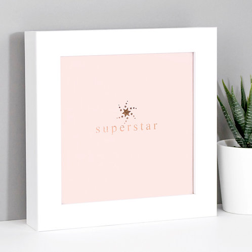 Superstar Rose Gold/Pink Framed Print x 3
