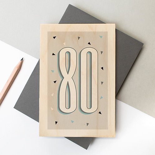 80th Birthday Funky Confetti Wooden Age Card
