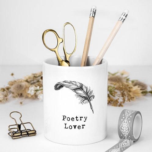 Poetry Lover White Ceramic Pen Pot