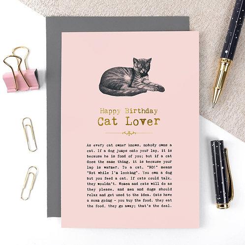Cat Lover Vintage Foil Birthday Card x 6