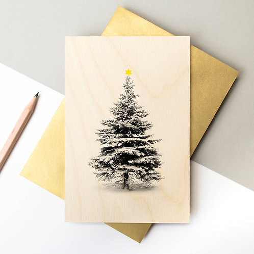 Wooden Snowy Christmas Tree Card x 6