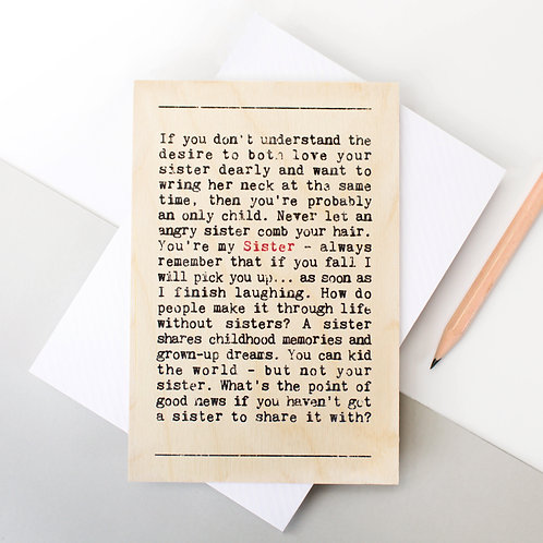 Wise Words Sister Wooden Card x 6