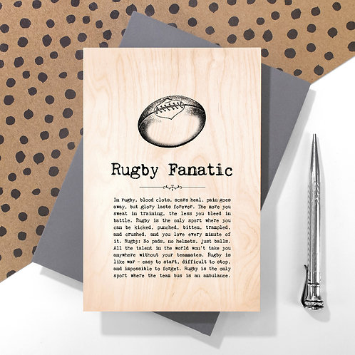 Rugby Fanatic Personalised Wooden Keepsake Card
