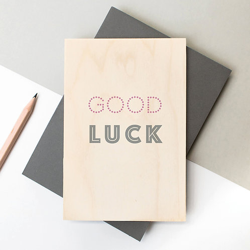 Good Luck Mini Wooden Plaque Card x 6