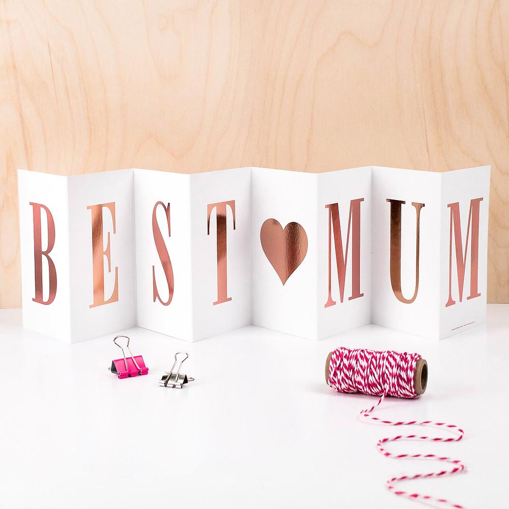 best mum gold foil concertina card