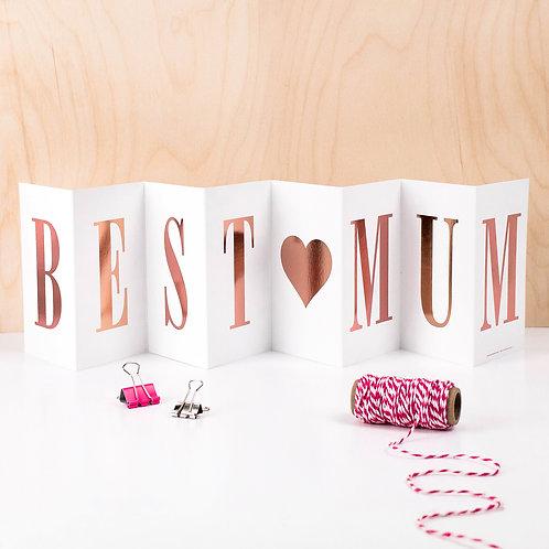 'BEST MUM' Foil Concertina Card x 6