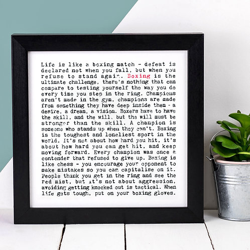 Boxing Gift Sports Quote Print for Him