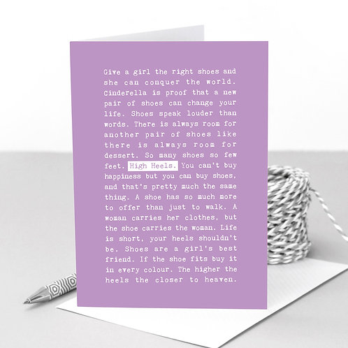 High Heels Quotes Funny Pastel Greeting Card