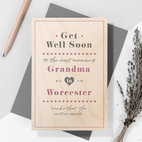 Get Well Personalised Wooden Keepsake Card in Pink x 6