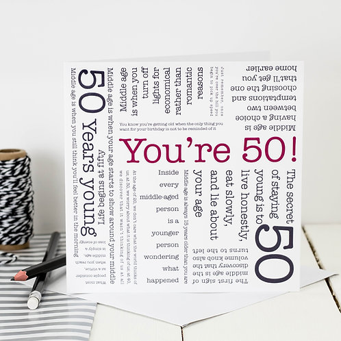 50th Birthday 'You're 50!' Quotes Card