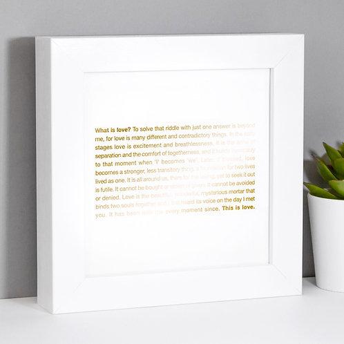 What is Love? Framed Mini Metallic Gold Print