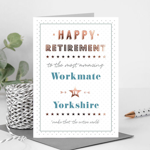 Happy Retirement Dotty Personalised Card in Blue x 6