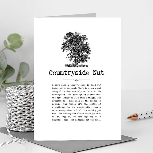 Countryside Nut Vintage Words Greeting Card x6