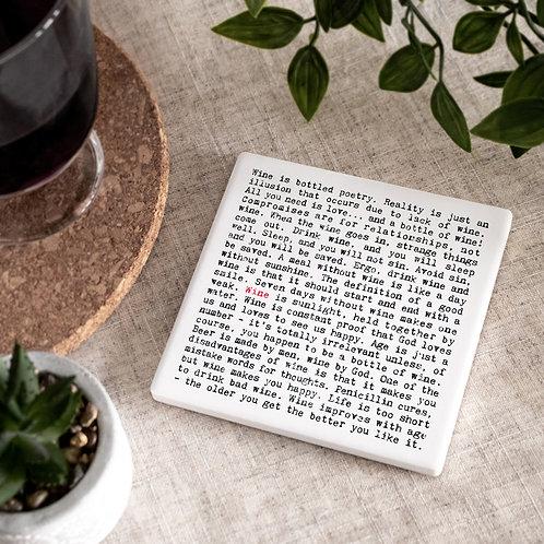 Wine Quotes Ceramic Drinks Coaster