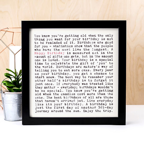 Happy Birthday Wise Words Quotes Print