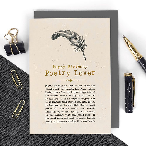 Poetry Lover Luxury Foil Birthday Card with Quotes