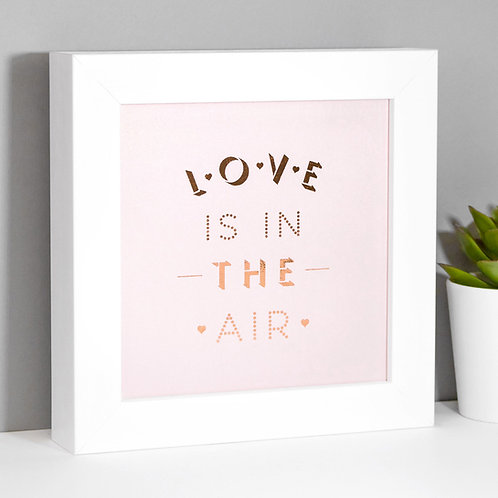 Love is in the Air Rose Gold Framed Print