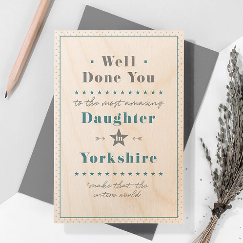 Well Done Personalised Wooden Keepsake Card in Blue x 6
