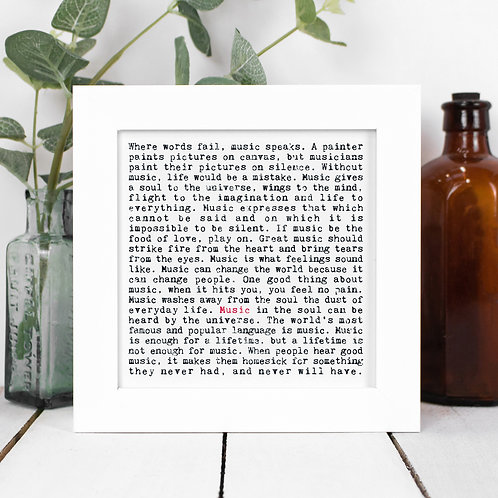 Music Quotes Framed Print in a Gift Box