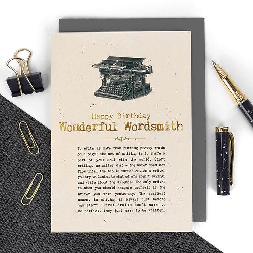 Wonderful Wordsmith Vintage Foil Birthday Card x 6
