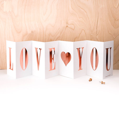 Birthday 'LOVE YOU' Foil Concertina Card