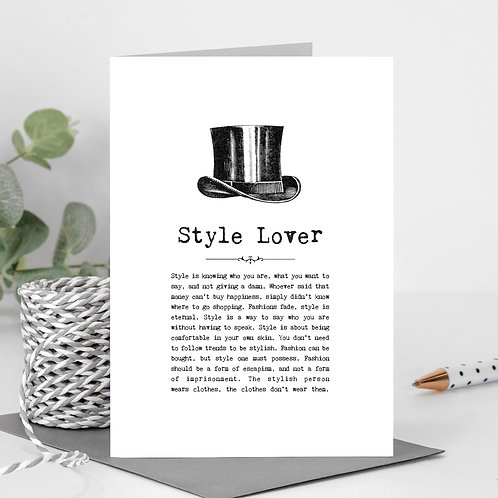 Style Lover Vintage Words Greeting Card x 6