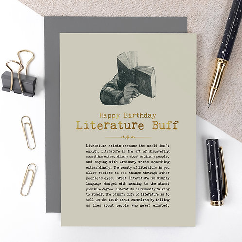 Literature Buff Luxury Foil Birthday Card with Quotes