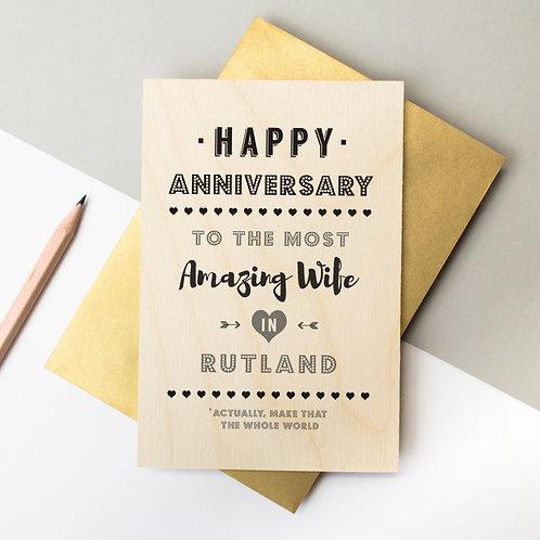 Anniversary Personalised Wooden Keepsake Card x 6