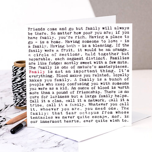 Family Wise Words Quotes Card x 6