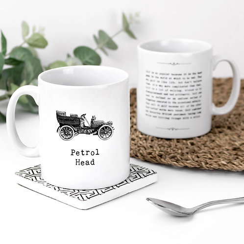 Petrol Head Vintage Words Quotes Mug x 3