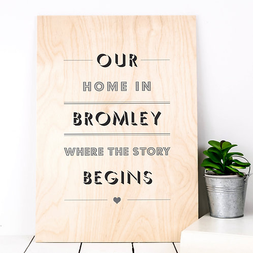 Our Home Personalised Wooden Print x 3