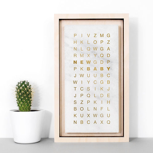 New Baby Wordsearch Metallic Marble Print x 3