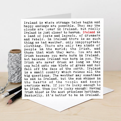 Ireland Wise Words Greeting Card with Quotes