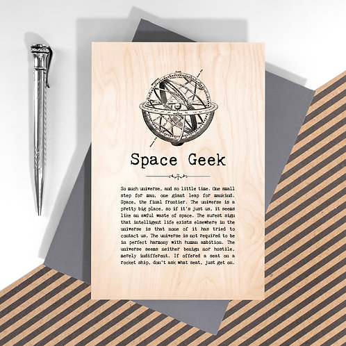 Space Geek Mini Wooden Plaque Card x 6