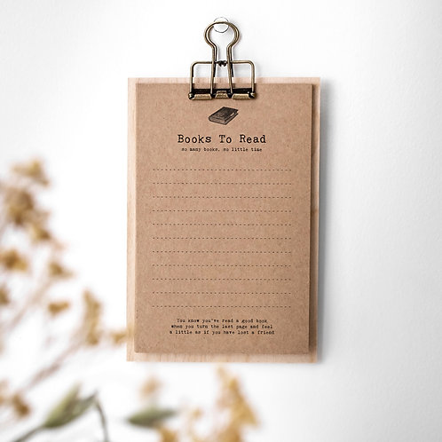 Books to Read List Cards on Mini Clipboard