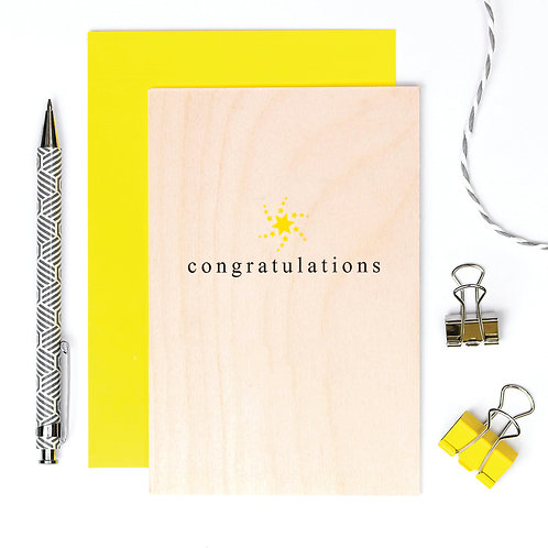 Congratulations Simply Stylish Wooden Card x 6